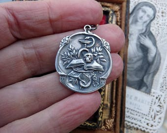 French Memento Mori Skull Snake and Chalice Amulet, Recast Talisman for the Alchemist, by RusticGypsyCreations