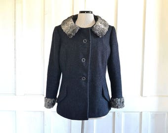 50s Wool Jacket Silver Persian Lamb Real Fur Collar and Cuffs