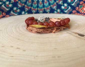 Red Jasper and Sari Silk Bracelet