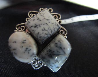 Ring in 925 Silver and dendritic Opal