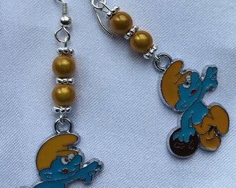 Smurf bowling earrings