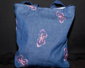 butterfly denim tote. reversible tote bag,