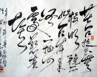 CHINESE CALLIGRAPHY -- Where Can Be Dust Alight