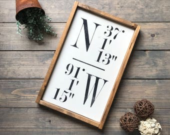 GPS Sign, Coordinates Sign, Latitude Longitude, Housewarming, Anniversary, Wedding Gift, Farmhouse Style, Sign, Farmhouse Decor, Wall Art