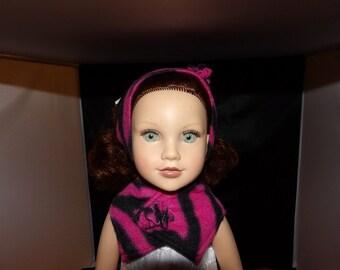 Fashionable fleece headband & scarf set in pink print for 18 inch dolls - ag262