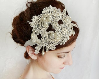 vintage lace wedding hairpiece, ivory lace bridal hair accessories, rhinestone headband - GABRIELLE - pearl hairpiece with ribbon ties