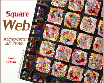 Square Web Quilt Pattern, Spider Web Quilt, String Quilt, Scrap Quilt, Wall Quilt, Twin Quilt, Instant Download