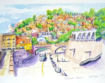 """Original Guanajuato Mexico Illustration View of the picturesque town from a tunnel. Ink and Watercolor 18""""x12"""" created by Liz Vargas Art"""