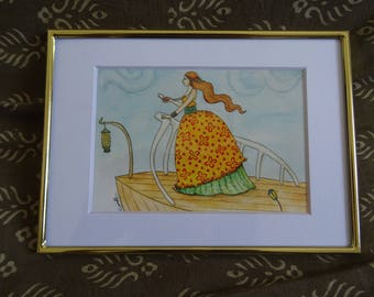"""Watercolor """"bow"""" A6 framed * watercolor card On the prow A6 framed *."""