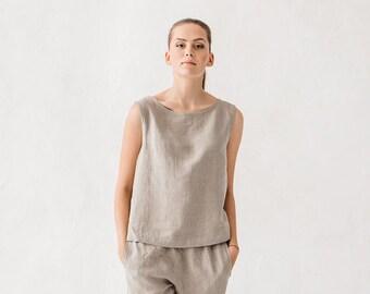 Basic linen top / Linen tank top / Linen blouse / Natural linen grey linen top / #18
