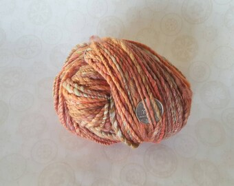 "Handspun Yarn Merino / Silk - ""Desert Mallow"" Peach / Orange / Green"