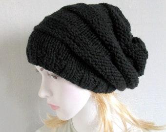 Women Men Hat Slouchy Hat Slouchy Beanie Slouchy Beanie Slouch Hats cabled hat womens accessory Grey Hand Made Knit Women Knit Hat