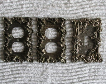 Set of Three Switch Plate Covers, American Tack & Howe Co. Electrical Covers