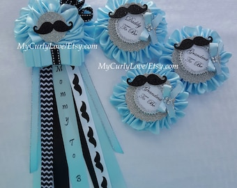 Little Man Mommy to be Pin/Mustache Mommy to be Pin/Boy Mommy to be Corsage/Little Man Baby Shower Corsage/Little Man Daddy to be Corsage