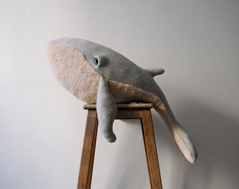 Big Whale Stuffed Animal <0> Plush Toy <0> Cotton Jersey & Cotton Faux Fur