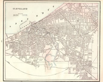 1886 Antique CLEVELAND Ohio Map Vintage Map of Cleveland Print Gallery Wall Art Office Decor Gift For Birthday Wedding 7996