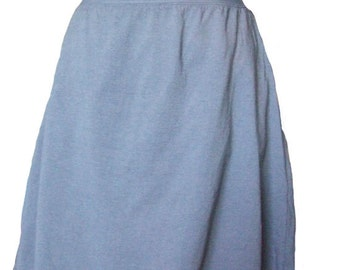 Grey Cotton Jersey Knit Skirt with a Rolled Waistband