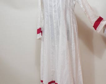 Ladies Long white pink cotton casual pakistani dress shirt size M