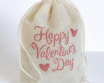 Happy Valentine's Day Bags 6 muslin cotton favor bag with stamp goodies treat bag