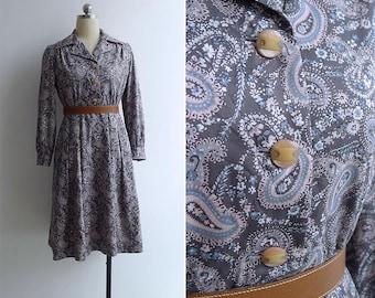 Vintage 70's Pink & Grey Paisley Print Cotton Shirt Dress S