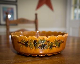 Vintage 1960s McCoy Grape Leaf Brown Serving Bowl