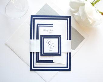 Wedding Invitation Package, Wedding Invitation Kit, Timeless, Elegant, Navy and White Invitations, Navy and Gray- SAMPLE SET