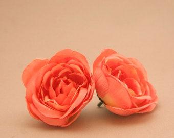 2 Coral Yellow Ranunculus - Silk Flowers, Artificial Flowers