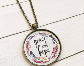 Grace Necklace,Hope Necklace, Grace and Hope Jewelry,Christian Necklace,Bible Verse Necklace,Scripture Pendant,Miscarriage Gift