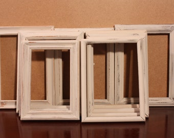 Frame Set Wedding White Shabby Chic 5 x 7 Picture Frames Beach Cottage French Country Southern Farmhouse Home Decor Photo Birthday Gift