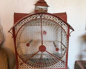 SOLD  !!!!!!!!!!!!!!!!!!!!!!!!!!!!!!!!!!!!!!!!!!!!!!1111 - RARE ANTIQUE Hendryx Bird Cage Victorian Revolving Ferris Wheel Cage Tole cage