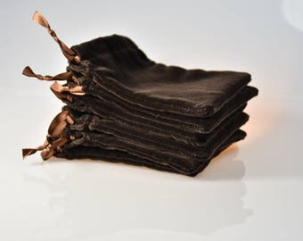6 (12) pcs set Natural Velvet, Chocolate Color Gift Pouches, Jewelry Bags, size 3 1/2 x 4 1/2 inches