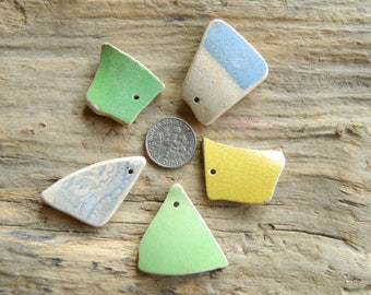 5 Drilled sea pottery shard pieces for jewellery crafts