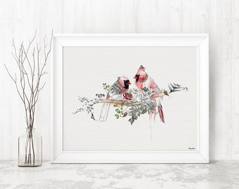 Cardinal Watercolor Print, Bird Art, Watercolor Painting, Wall Art Print,  Fine Art Prints, Birds Painting, Red Cardinals Watercolor Art
