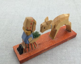 Erzegebirge Miniature, Lamb and Girl, Miniature Lamb, Wood Miniatures, Animal Miniatures, Tiny Lamb and Girl, Tiny Wood Lamb, Farm Miniature