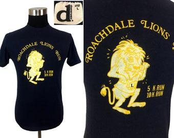 Vintage 80s Roachdale Lions Run T-Shirt Large -> MEDIUM // Downerwear // Gym // 80s // M // Marathon // 5k // 10k // Workout // Exercise