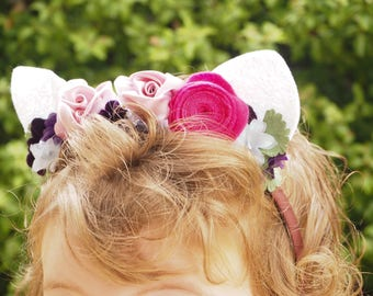 Felt Flower Crown with Animal Ears - Cute Floral Headband - Gorgeous Hair Accessory - Fits Child and Adult