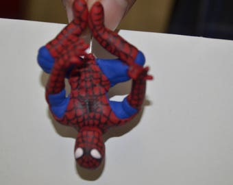 Polymer clay spiderman charm, hanging