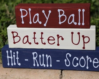 Baseball Wood Blocks, Play Ball-Batter Up- Hit, Run, Score, Baseball Home Decor, Baseball Decor