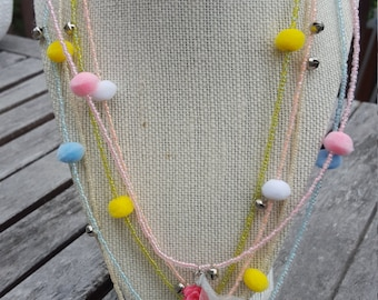 Girls pompom bells and flowers seed beads necklace
