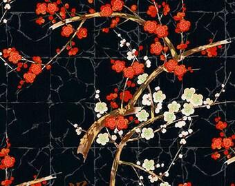 CHERRY BLOSSOM BRANCHES - Black/Gold: Asian Japanese Fabric (Half Yard)