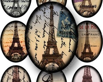 Framed French Ephemera in 30x40 mm ovals for pendants and more -- piddix digital collage sheet no. 656