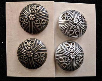 Scroll Cutwork Shank Buttons - Filagree Floral Metal Buttons