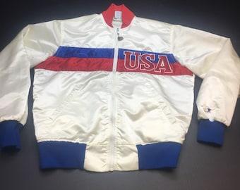 Vintage Team USA White Satin Starter Bomber Jacket