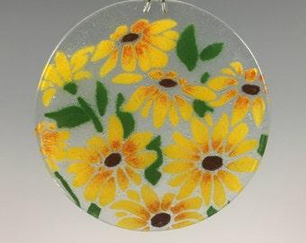 Black Eyed Susan, Suncatcher, Rudbeckia, Window Hanging, Yellow Flowers