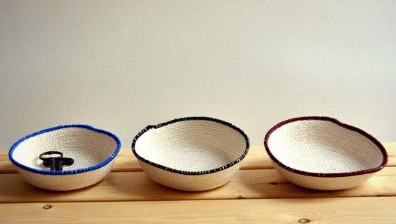 Desk organiser, Office decor, Rope dish, Simple decor, Jewellery holder, Bread basket, Beach house simple decor, Cotton rope bowl