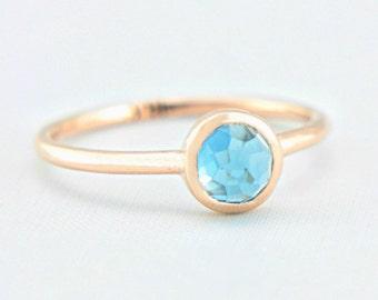 Blue Topaz Rose Gold Ring 14k Gold Rose Cut Blue Topaz Gold Ring Made in Your Size Alternative Engagement Ring Blue Topaz Engagement Ring