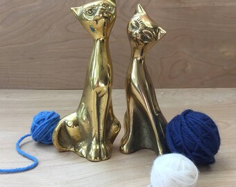 Vintage Brass Cat Figurines • Cat Lover's Gift • Tall Brass Kitty Set • Animal Figurine • Gold Pair of Siamese Cats