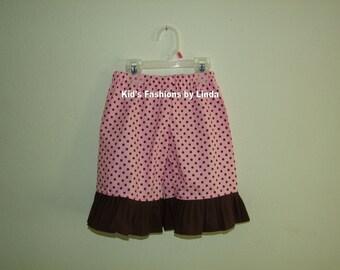 Pink Dots/Brown Ruffle Pants