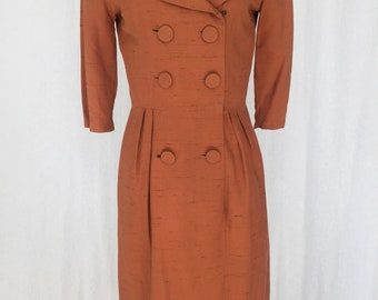 Mad men wiggle pencil 1950s dress brown with a beautiful collar Joan Holloway