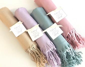 Pashmina 9pc - Personalized shawl - Bridesmaids gifts - Wedding favors - Customized scarves